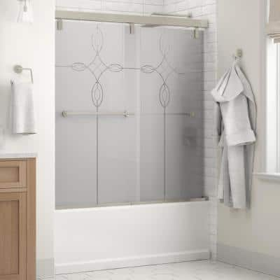 Crestfield 60 in. x 59-1/4 in. Mod Semi-Frameless Sliding Bathtub Door in Nickel and 1/4 in. (6mm) Tranquility Glass