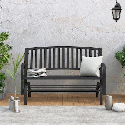 Steel Porch Chair Loveseat Outdoor Patio Glider Bench