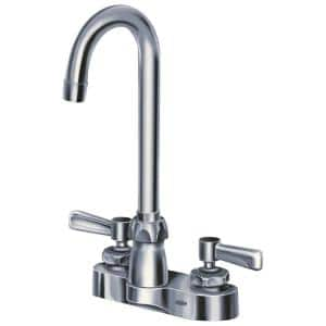 4 in. Centerset 2-Handle Gooseneck Bathroom Faucet in Chrome