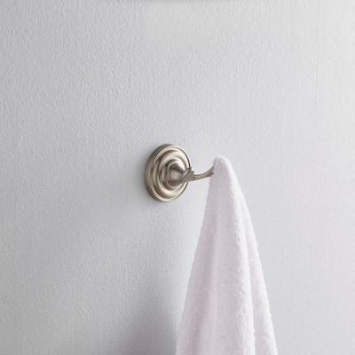 Greenwich Double Towel Hook in SpotShield Brushed Nickel