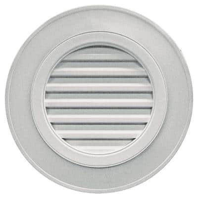 28 in. x 28 in. Round Gray Plastic Weather Resistant Gable Louver Vent