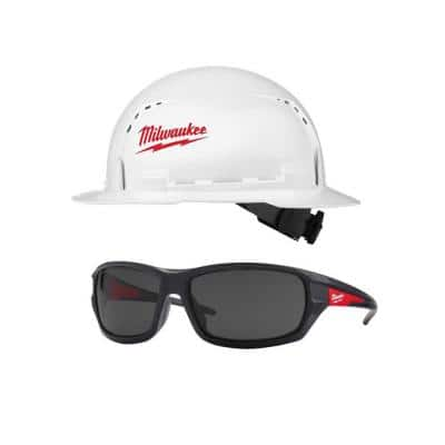 BOLT White Type 1 Class C Full Brim Vented Hard Hat W/ Performance Safety Glasses with Tinted Lenses