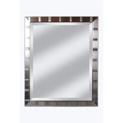 Medium Rectangle Brushed Silver Beveled Glass Contemporary Mirror (34 in. H x 28 in. W)