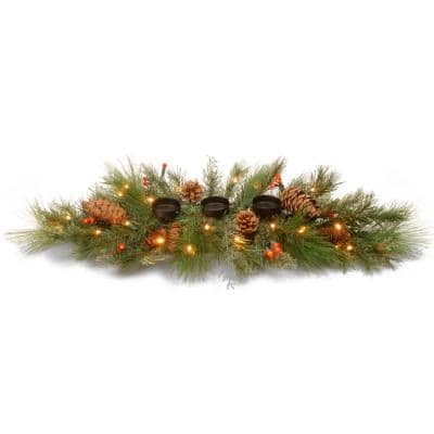 30 in. Decorative Collection White Pine Candle Holder Centerpiece with Battery Operated Warm White and Red LED Lights