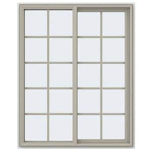 47.5 in. x 59.5 in. V-4500 Series Desert Sand Vinyl Right-Handed Sliding Window with Colonial Grids/Grilles