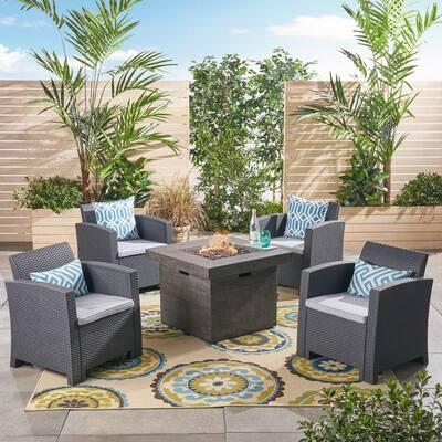Bedrock 5-Piece Faux Wicker Patio Fire Pit Conversation Set with Light Grey Cushions