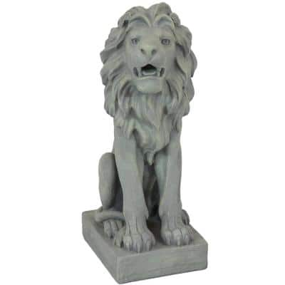 30 in. Noble Beast Sitting Lion Outdoor Statue