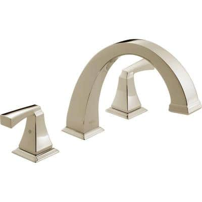 Dryden 2-Handle Deck-Mount Roman Tub Faucet Trim Kit Only in Polished Nickel (Valve Not Included)