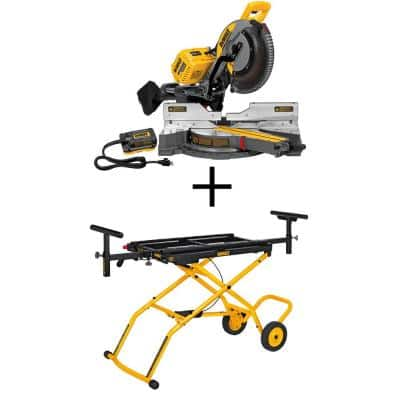 FLEXVOLT 120-Volt MAX Lithium-Ion Cordless Brushless 12 in. Sliding Miter Saw w/ AC Adapter (Tool-Only) and Bonus Stand