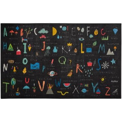 ABC Letters Black 8 ft. x 10 ft. Theme Area Rug