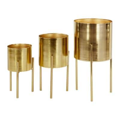 Contemporary Style Large Round Indoor/Outdoor Metallic Gold Metal Planters in Gold Stands (Set of 3)