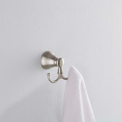 Banbury Double Robe Hook in Spot Resist Brushed Nickel