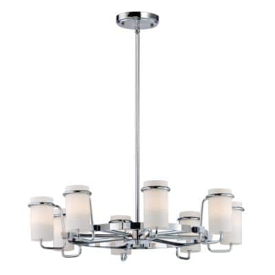 Avant 25 in. W 8-Light Polished Chrome Chandelier with Satin White Shade