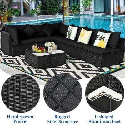 7-Piece Wicker Patio Fire Pit Sofa Set Sectional Conversation Furniture Set Garden with Black Cushions