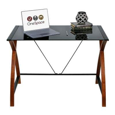 40 in. Rectangular Black/Brown Writing Desk with Open Storage