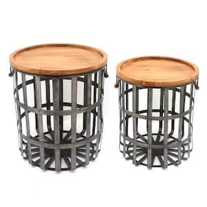 Round Galvanized Metal Decorative Basket with Wood Lid (Set of 2)