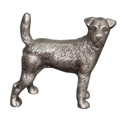 Silver Aluminum Table Accent Dog Statuette Decor Sculpture with Textured Details