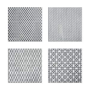 Josefa 6 in. x 6 in. Black and Grey Multicolor Ceramic Decorative Wall Tile (4-Pack)