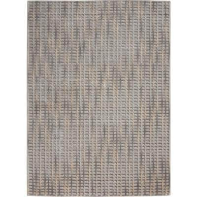 Solace Grey/Beige 5 ft. x 7 ft. Abstract Contemporary Area Rug
