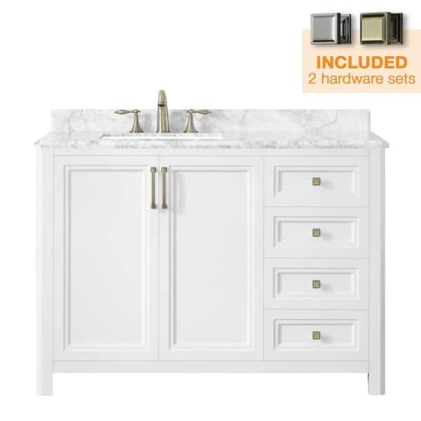 Home Decorators Collection Sandon 48 In W X 22 In D Bath Vanity In White With Marble Vanity Top In Carrara White With White Basin Sandon 48w The Home Depot