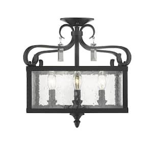 Valencia  4-Light Black Semi-Flush Mount/Pendant Convertible
