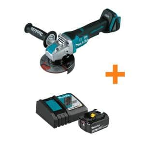 18-Volt LXT Brushless Cordless 4-1/2 in./5 in. Paddle Switch X-LOCK Angle Grinder with bonus 18V 4.0Ah LXT Starter Pack