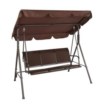 3-Person Black Metal Patio Swing with Brown Canopy
