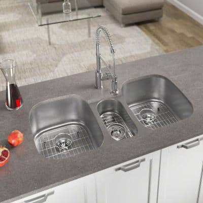 Undermount Stainless Steel 43 in. Triple Bowl Kitchen Sink with Additional Accessories