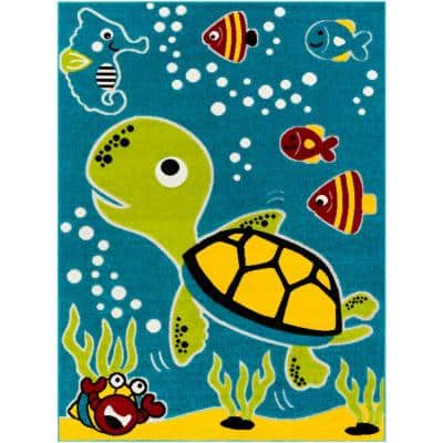 Sea Creatures Multi-Colored Blue/Green 7 ft. 10 in. x 10 ft. Area Rug