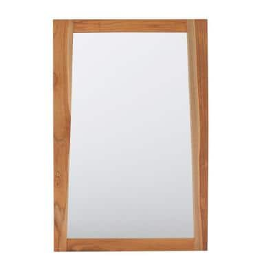 Significado 24 in. W x 35 in. H Framed Rectangular Beveled Edge Bathroom Vanity Mirror in Natural