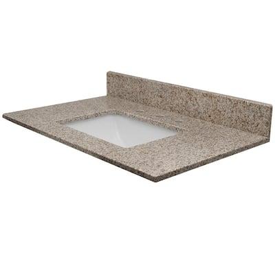 Vista 37 in. W x 22 in. D Granite Single Rectangle Basin Vanity Top in Granola with White Basin
