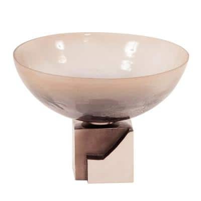 Ombre Glass Bowl on Square Aluminum Base