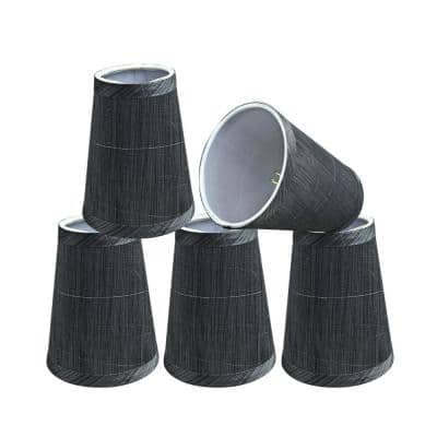 4 in. x 5 in. Grey and Black Hardback Empire Lamp Shade (5-Pack)