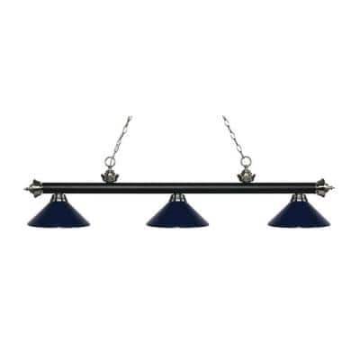 Storick 3-Light Matte Black and Brushed Nickel Island Light with Navy Blue Shades
