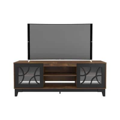 Venus 72 in. Black and Truffle TV Stand Fits TV's up to 80 in. with 2-Doors