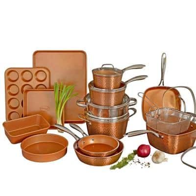 Hammered Copper 20-Piece Aluminum Non-Stick Cookware and Bakeware Set