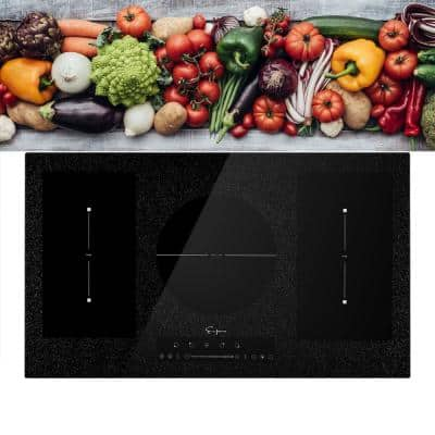 Built-In 36 in. Electric Stove Induction Cooktop with 5 Elements Including 2 Flexi Bridge Heating Zone in Black
