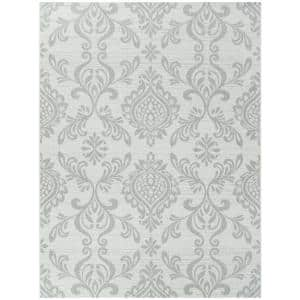 Rowland White 8 ft. x 10 ft. Damask Indoor/Outdoor Area Rug