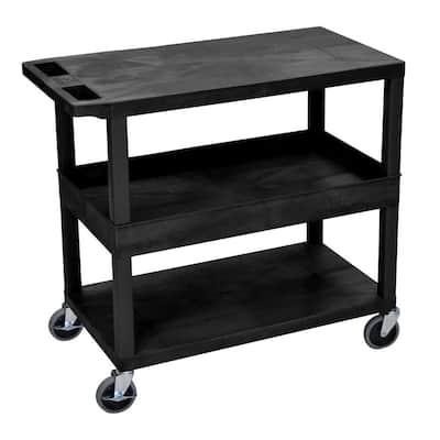 EC Series 18 in. W x 35 in. L 3-Shelf Utility Cart, Black