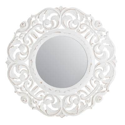 24 in. x 24 in. Bohemian Round Framed Temora White Carved Accent Mirror