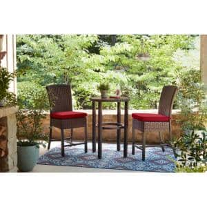 Harper Creek 3-Piece Brown Steel Outdoor Patio Bar Height Dining Set with CushionGuard Chili Red Cushions