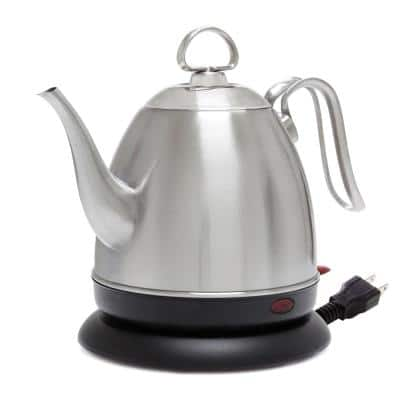 Mia 4-Cup Brushed Stainless Steel Electric Kettle with Automatic Shut-Off