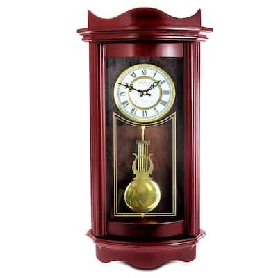 Weathered Chocolate Cherry Wood 25 Inch Wall Clock with Pendulum