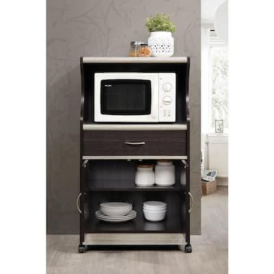Grey Microwave Cart with Storage