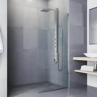 Bowery 58 in. x 4 in. 4-Jet High Pressure Shower Panel System with Square Rainhead and Tub Filler in Stainless Steel