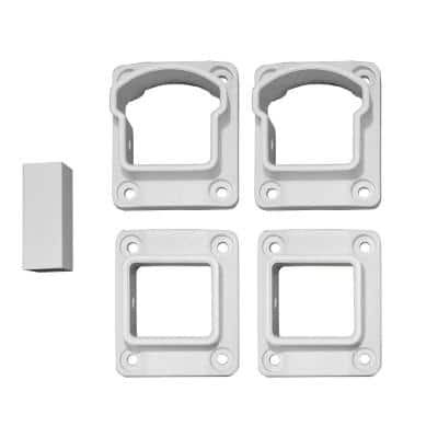 Stanford Textured White Aluminum Straight Railing Bracket Kit (4-Piece)