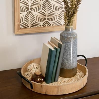 Natural Stamped Leaf Wood Tray