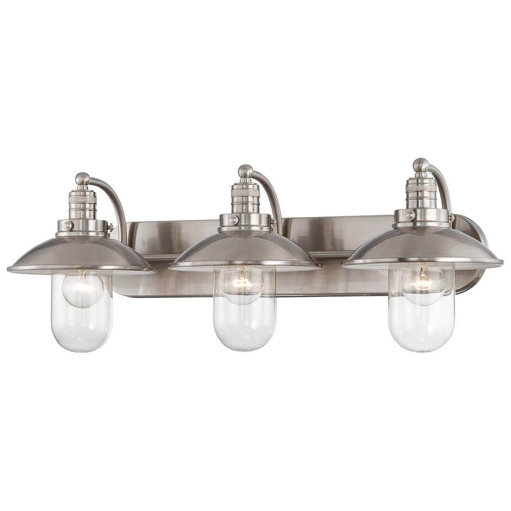 Minka Lavery Downtown Edison 3 Light Brushed Nickel Bath Light 5133 84 The Home Depot