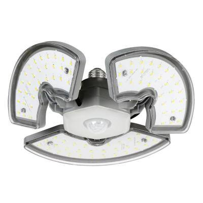 400-Watt Equivalent Wafer Motion Sensor Adjustable Panels Garage Ceiling Shop LED Light Bulb Daylight 5000K (4-Pack)