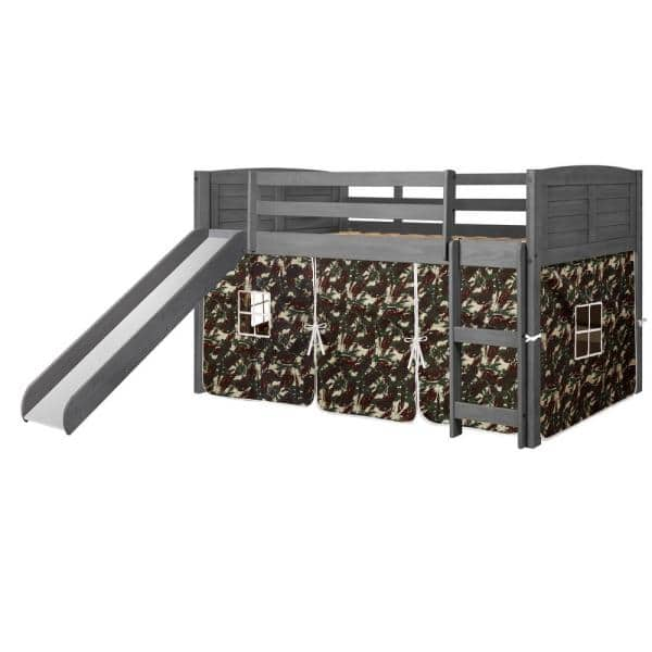 Donco Kids Antique Grey Twin Louver Low Loft Bed with Slide and Camo Tent Kit | The Home Depot